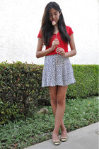 white patterned H&M skirt - ruby red relaxed Forever 21 t-shirt