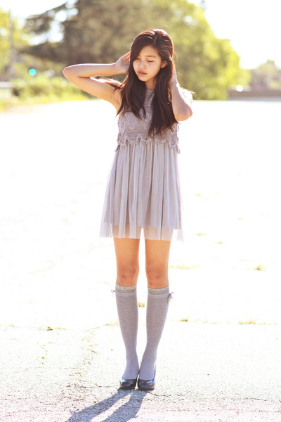 black unknown heels - heather gray Forever 21 dress - silver Forever 21 socks