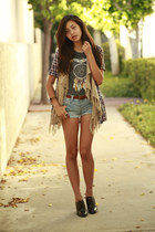 camel gifted vest - heather gray H&M shirt - light blue Forever 21 shorts