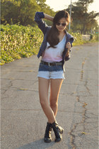 blue Forever 21 jacket - black JCPenney boots - blue Forever 21 shorts