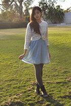 white patterned H&M sweater - dark brown Forever 21 boots - sky blue H&M dress