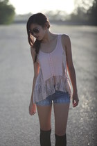 peach lace Forever 21 top - blue Forever 21 shorts - black Forever 21 socks