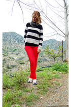 red denim jeans - stripes sweater - animal print scarf - pumps