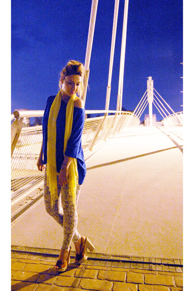 yellow scarf - blue blouse