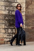 purple blouse - black Primark boots - black Michael Kors jacket