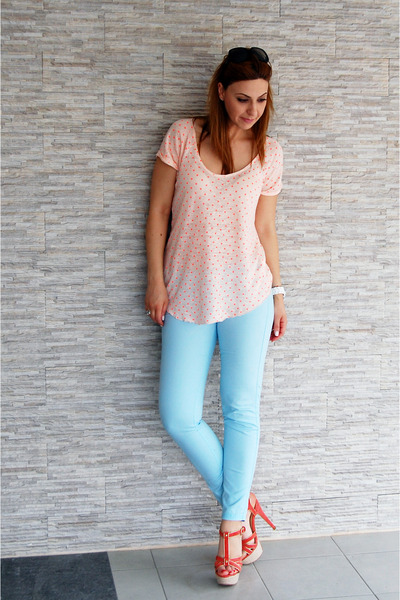 aquamarine jeans - orange polka dots blouse - orange sandals