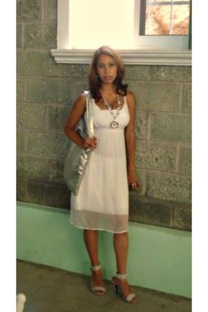 white dress - silver purse