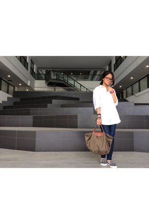 white button up H&M top - navy jeggings Uniqlo jeans - army green longchamp bag