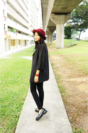 black blazer - brick red hat - black loafers