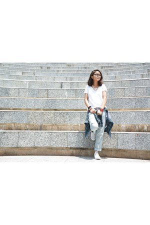 white H&M t-shirt - teal cotton on blouse - white Converse sneakers