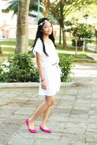 white Uniqlo dress - ivory diva hair accessory - hot pink rubi flats
