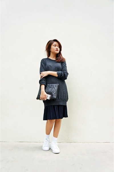 navy Uniqlo sweater - black H&M bag - navy skirt