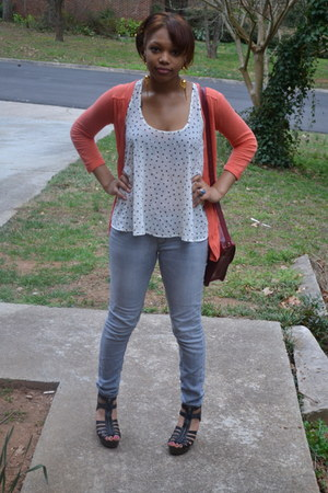 Target bag - Hot Topic jeans - Guess cardigan - Rue 21 top - Target wedges