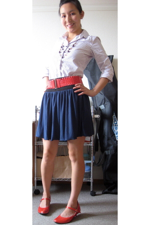 belt - J Crew shirt - skirt - shoes - necklace
