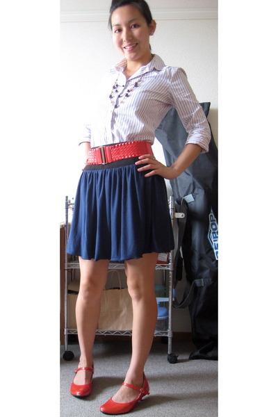 belt - J Crew shirt - skirt - shoes - necklace