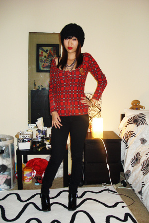 Guess sweater - BDG pants - payless shoes