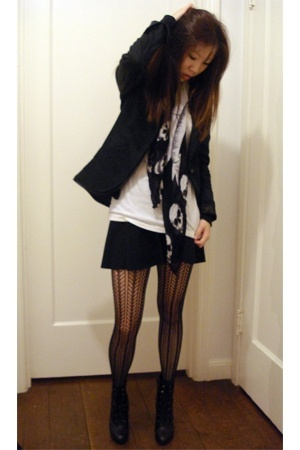 Armani Exchange blazer - H&M top - scarf - American Apparel skirt - asos tights