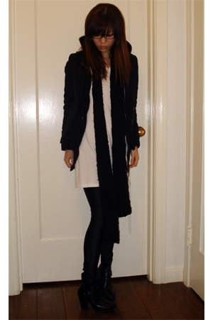 knitted scarf - American Apparel dress - American Apparel - payless boots - Clai
