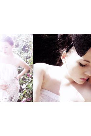 white Vinatge dress - black selfmade accessories