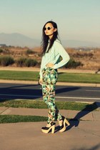 light blue tropical print Zara pants - off white cream Forever 21 sunglasses