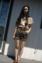 brown vintage shorts - beige moms blouse - brown dads belt - brown Nordstroms sh