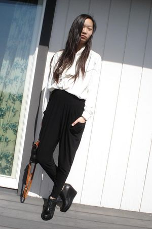 black polka dot pants - black f21 shoes - black my mom bag - white my mom blouse