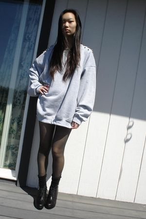 gray DIY with studs sweater - black my mom tights - black Target socks - f21 sho