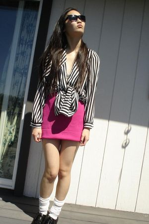 pink my mom skirt - black my mom blouse - white socks - black f21 shoes - black