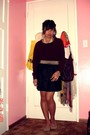 Black-forever-21-skirt-red-sweater-gold-accessories-beige-shoes