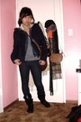 Blue-jacket-blue-vest-black-boots-gray-gloves-brown-purse