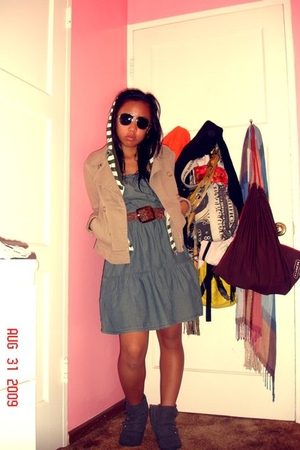 Wet Seal dress - Forever21 jacket - H&M jacket - Macys boots - H&M sunglasses