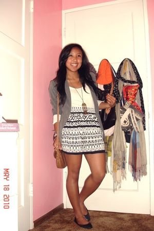gray blazer - white Forever 21 skirt - white H&M top - brown purse
