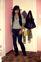 Forever 21 shirt - H&M vest - Forever 21 jeans - boots