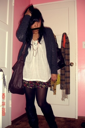 gray Forever 21 sweater - white Heritage blouse - black Forever 21 shorts - blac