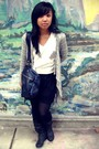 White-shirt-black-shorts-black-boots-gray-forever-21-cardigan-blue-h-m-p