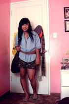 blue Heritage shirt - black Forever 21 shorts - beige thrifted shoes - brown For