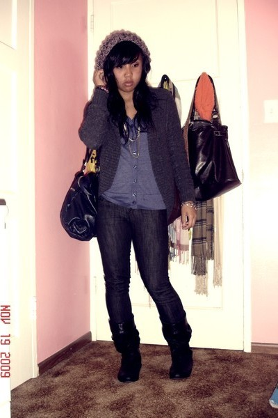 H&M - Forever 21 sweater - my sisters sweater - Levis jeans - boots