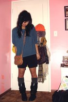 blue sweater - black shorts - gray Bakers socks - black boots - brown purse