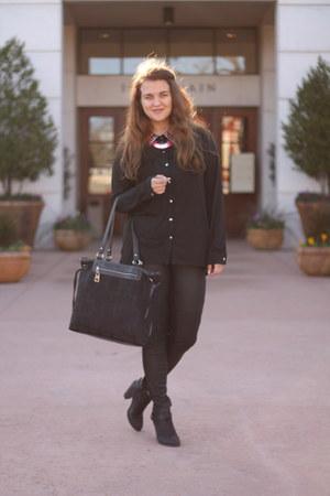 black ankle LC Lauren Conrad boots - black faux leather Forever 21 leggings