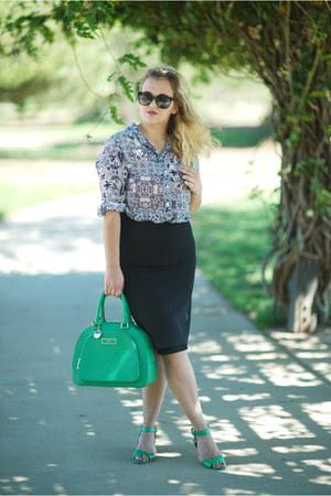 navy printed Joe Fresh blouse - green top handle DKNY bag