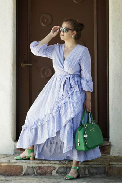 green top handle DKNY bag - sky blue maxi Who What Wear at Target dress