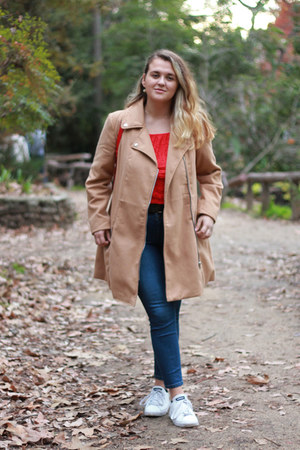 red backpack Zara bag - tan oversized Charlotte Russe coat
