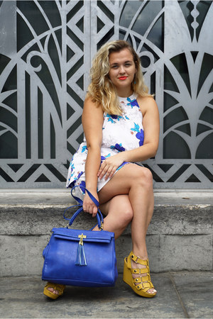 white slip Charlotte Russe dress - blue colorful Aldo bag