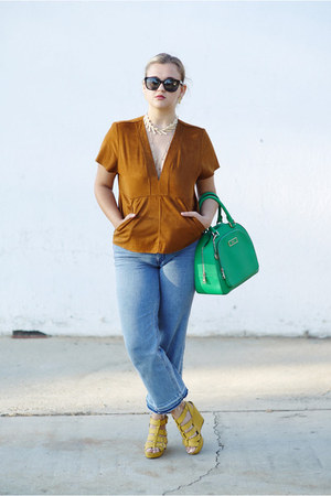 light brown suede Zara top - sky blue cropped flare H&M jeans