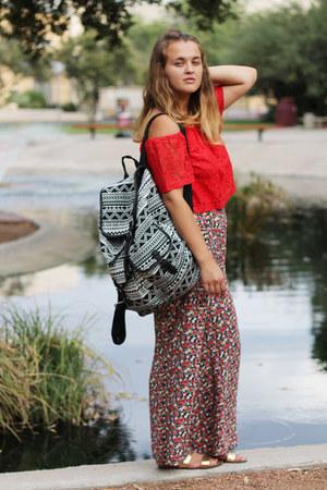 red printed Rue 21 pants - black backpack Mossimo bag