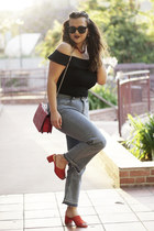 black bardot Who What Wear Collection bodysuit - red mules Aldo shoes