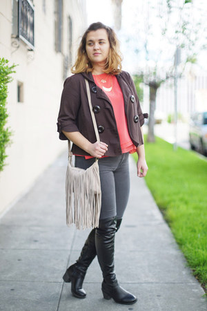 bubble gum flowy Zara top - black over-the-knee DSW boots