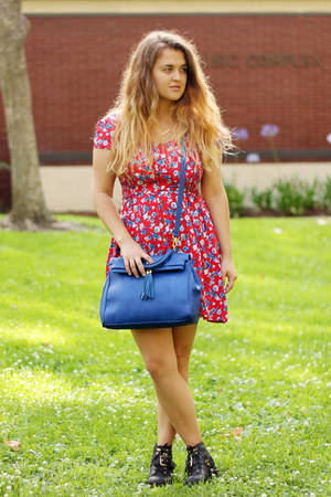 red sundress Charlotte Russe dress - blue structured Aldo bag