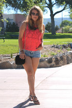 light purple ombre decree shorts - salmon Princess vera wang top