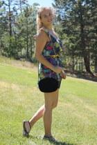 hot pink printed deb dress - black strappy merona sandals